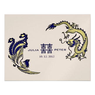 Faire-part de mariage moderne de Chinois de Dragon