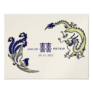 Faire-part de mariage moderne de Chinois de Carton D'invitation 10,79 Cm X 13,97 Cm