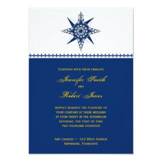 Faire-part de mariage nautique de jaune de marine carton d'invitation  12,7 cm x 17,78 cm