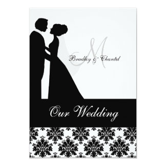 Faire-part de mariage noir et blanc de couples de carton d'invitation  12,7 cm x 17,78 cm