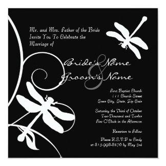 Faire-part de mariage noir et blanc de libellule