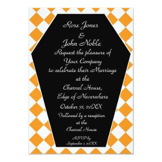 Faire-part de mariage (orange) d'ivoire de Damier