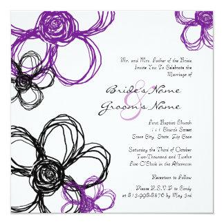 Faire-part de mariage pourpre et noir de fleurs carton d'invitation  13,33 cm