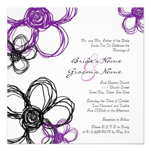 Faire-part de mariage pourpre et noir de fleurs sa
