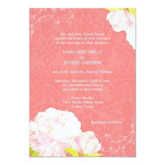 Faire-part de mariage rose de couleur de récif