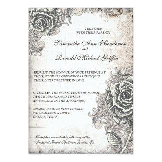 Faire-part de mariage rose de cru