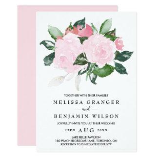 Faire-part de mariage rose doux de roses