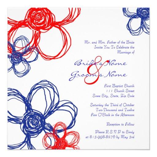 Faire-part de mariage rouge, blanc, bleu de fleurs