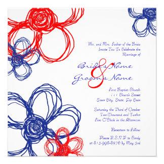 Faire-part de mariage rouge blanc bleu de fleurs