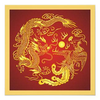 Faire-part de mariage rouge de Chinois d'or de