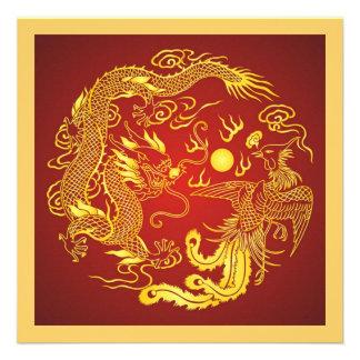 Faire-part de mariage rouge de Chinois d'or de Pho