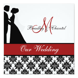 Faire-part de mariage rouge de couples de mariage carton d'invitation  13,33 cm