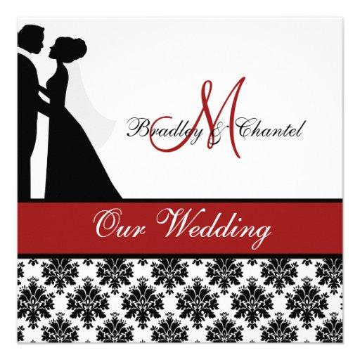 Faire-part de mariage rouge de couples de mariage