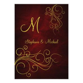 Faire-part de mariage rouge élégant de monogramme