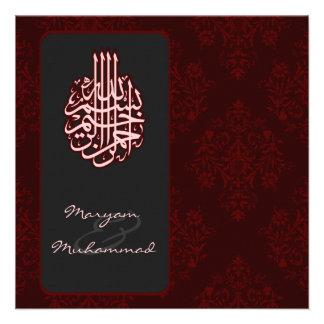 Faire-part de mariage royal rouge islamique de bis