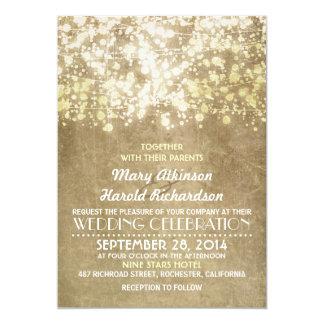 faire-part de mariage rustique avec des lumières carton d'invitation  12,7 cm x 17,78 cm