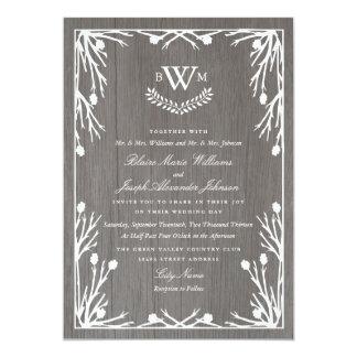 Faire-part de mariage rustique de monogramme de carton d'invitation  12,7 cm x 17,78 cm