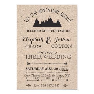 Faire-part de mariage rustique de montagnes