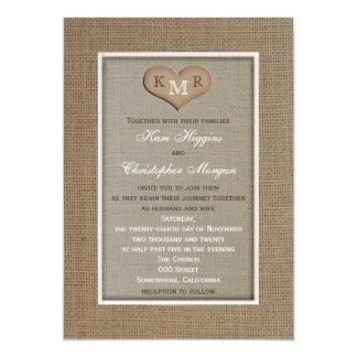 Faire-part de mariage rustique de toile de jute carton d'invitation  12,7 cm x 17,78 cm