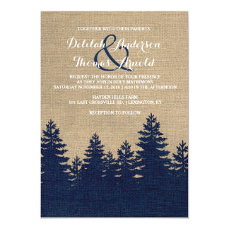 Faire-part de mariage rustique d'hiver de pins de