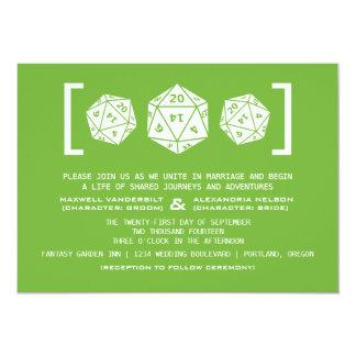 Faire-part de mariage vert de Gamer des matrices