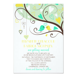 Faire-part de mariage vert et jaune d'inséparables