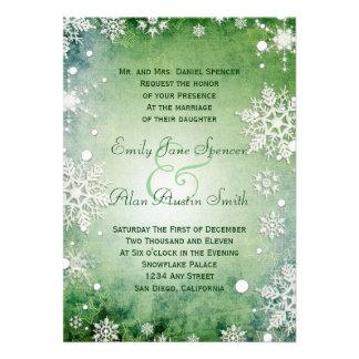 Faire-part de mariage vert hivernal