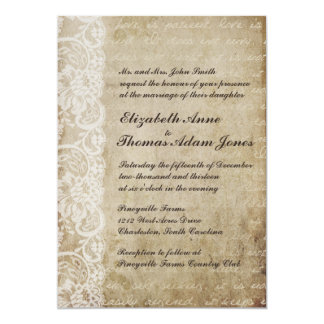 Faire-part de mariage vintage de Vieux Monde de Carton D'invitation 12,7 Cm X 17,78 Cm