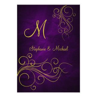 Faire-part de mariage violet élégant de monogramme