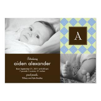 Faire-part de naissance à motifs de losanges chic carton d'invitation  12,7 cm x 17,78 cm