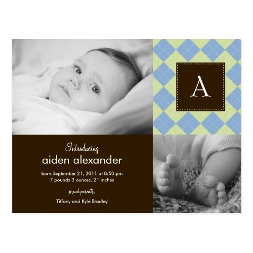 Faire-part de naissance à motifs de losanges chic  carte postale