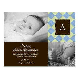 Faire-part de naissance à motifs de losanges chic  cartes postales