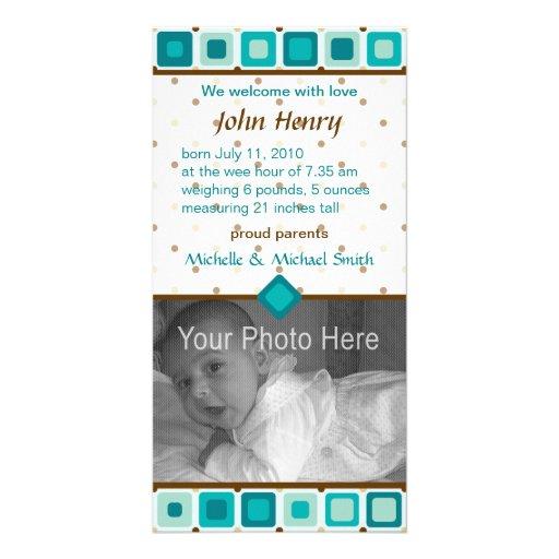 Faire-part de naissance arrondi de carrés - garçon cartes avec photo