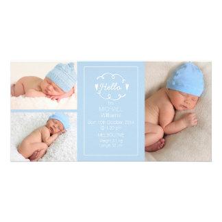 Faire-part de naissance bleu-clair Photocard de Photocartes