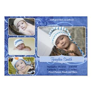 Faire-part de naissance bleu tourbillonnant carton d'invitation  12,7 cm x 17,78 cm