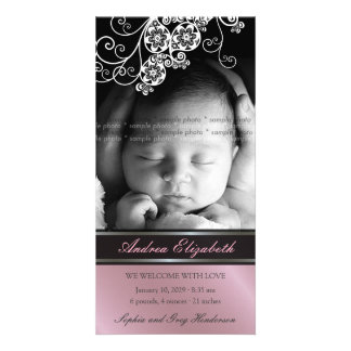 Faire-part de naissance chic de bébé de fleur flor cartes de vœux avec photo