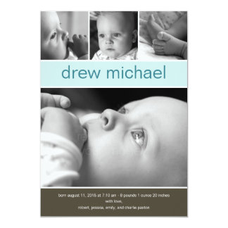 Faire-part de naissance classique de photo de bébé
