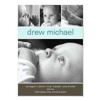 Faire-part de naissance classique de photo de bébé carton d'invitation  12,7 cm x 17,78 cm