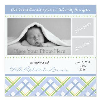 Faire-part de naissance de garçon - carte photo carton d'invitation  13,33 cm