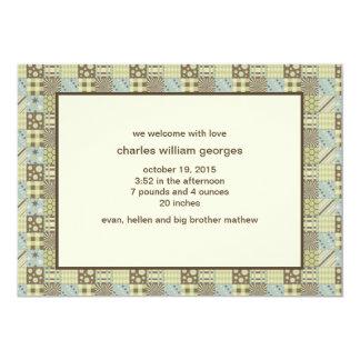 Faire-part de naissance de photo d'édredon de carton d'invitation  12,7 cm x 17,78 cm