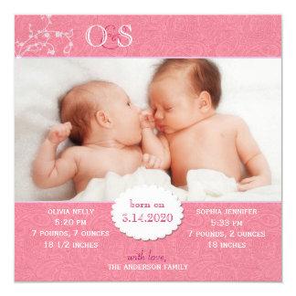 Faire-part de naissance de photo pour les filles carton d'invitation  13,33 cm