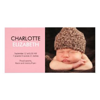 Faire-part de naissance doux de bébé de simplicité cartes de vœux avec photo