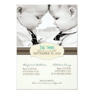 Faire-part de naissance élégant de jumeaux : Sépia Carton D'invitation 12,7 Cm X 17,78 Cm