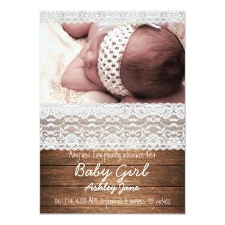 Faire-part de naissance en bois rustique de bébé