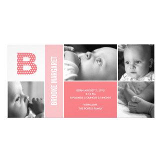 Faire-part de naissance initial de bébé de pois carte avec photo