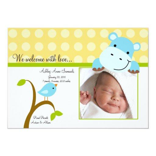 Faire-part de naissance mignon de PHOTO de bébé Carton D'invitation 12,7 Cm X 17,78 Cm