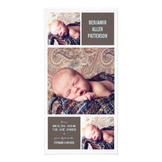 Faire-part de naissance moderne de bébé de photo d carte avec photo