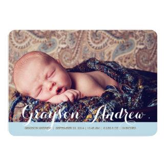 Faire-part de naissance moderne de photo de carton d'invitation  12,7 cm x 17,78 cm