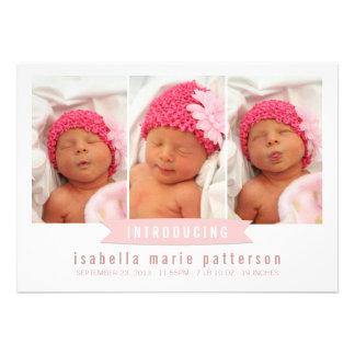 Faire-part de naissance moderne de photo de bébé d