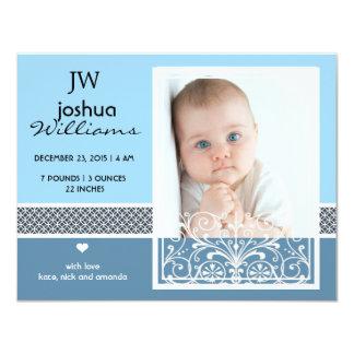 Faire-part de naissance vintage de photo de bébé carton d'invitation 10,79 cm x 13,97 cm